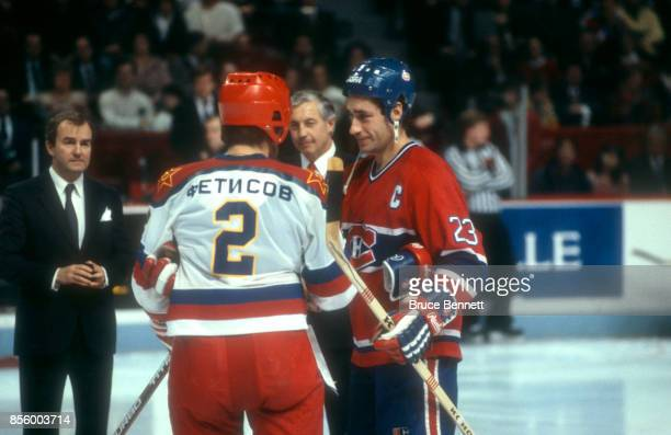 Bob Gainey of the Montreal Canadiens meets with Viacheslav Fetisov of CSKA Moscow before an International Superseries game on December 31 1985 at the...