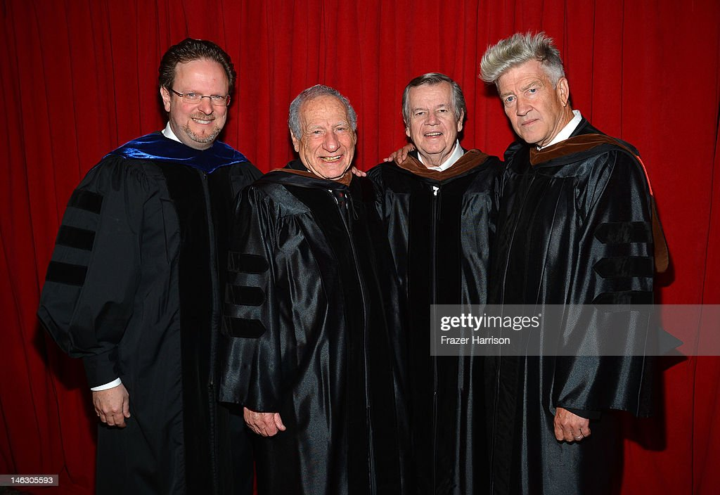 Bob Gazelle, AFI President & CEO, Honorary degree recipient director Mel Brooks, Bob Daly, Chairman, AFI Board of Directors and Honorary degree recipient David Lynch at the 2012 AFI Conservatory Commencement Ceremony at Grauman's Chinese Theatre on June 13, 2012 in Hollywood, California.