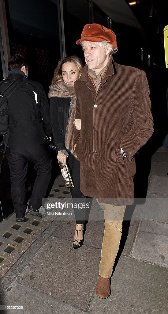 Bob Geldof and Jeanne Marine are sighted leaving Playboy Club London following the official Playboy 60th Anniversary Issue Party on December 2, 2013 in London, England.
