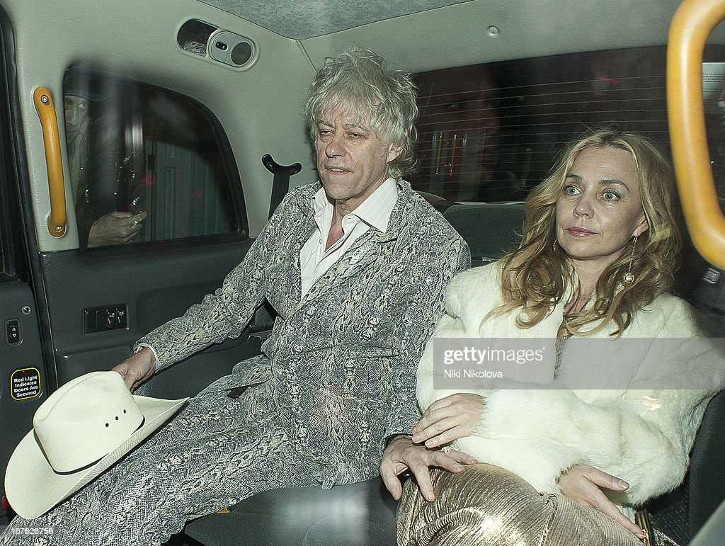 Bob Geldof and <a gi-track='captionPersonalityLinkClicked' href=/galleries/search?phrase=Jeanne+Marine&family=editorial&specificpeople=159392 ng-click='$event.stopPropagation()'>Jeanne Marine</a> sighting leaving The Box, Soho on April 30, 2013 in London, England.