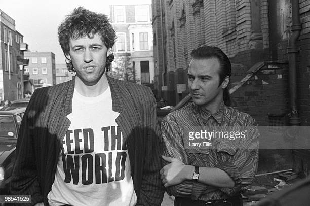 Bob Geldof and Midge Ure pictured outside SARM Studios in Notting Hill London during the recording of the Band Aid single 'Do They Know It's...