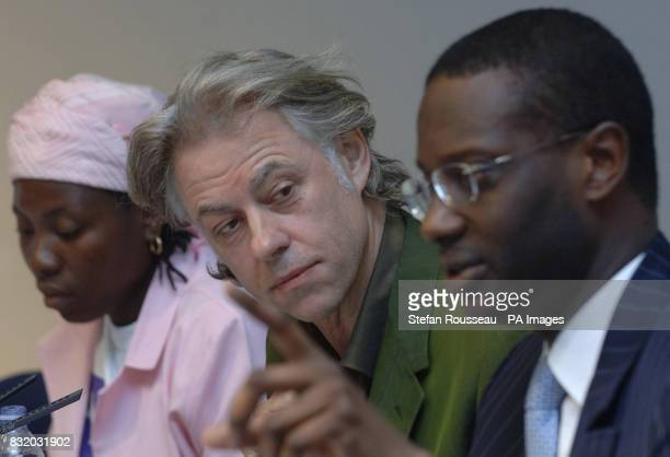 Bob Geldof at a news conference with Nkhensani Mavasa the first HIV positive person to address the United Nations General Assembly and Tidjane Thiam...
