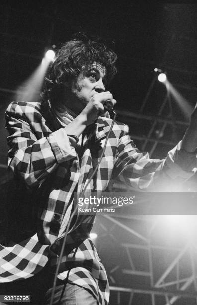 Bob Geldof lead singer with Irish band the Boomtown Rats performs on stage at the Liverpool Empire on September 28 1979