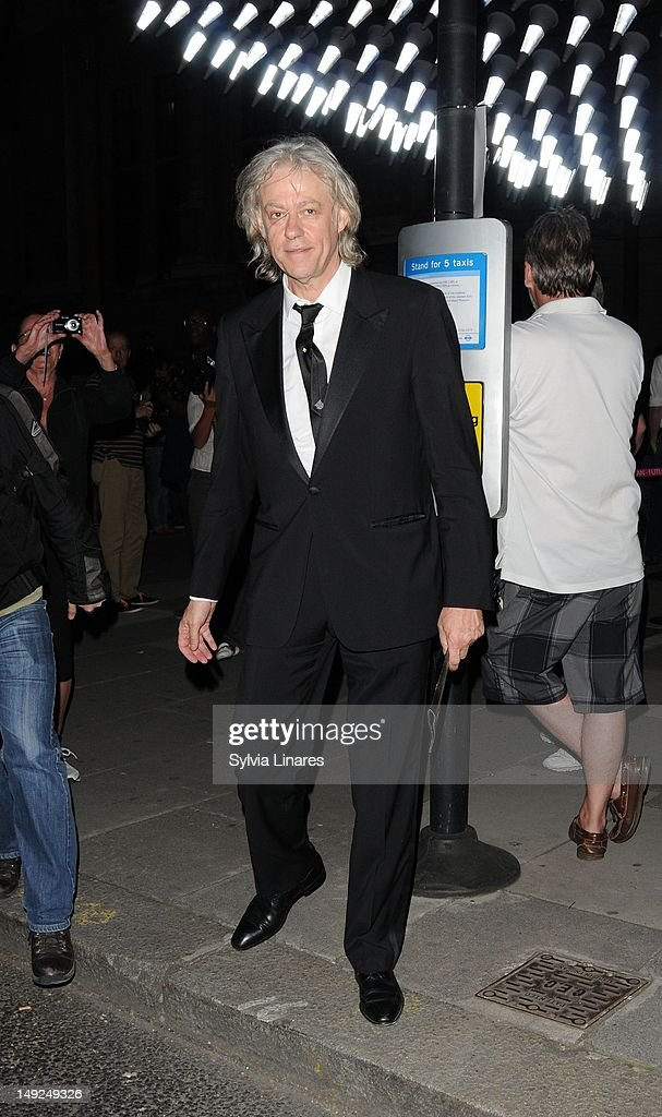 Bob Geldof leaving The V&A Museum on July 25, 2012 in London, England.