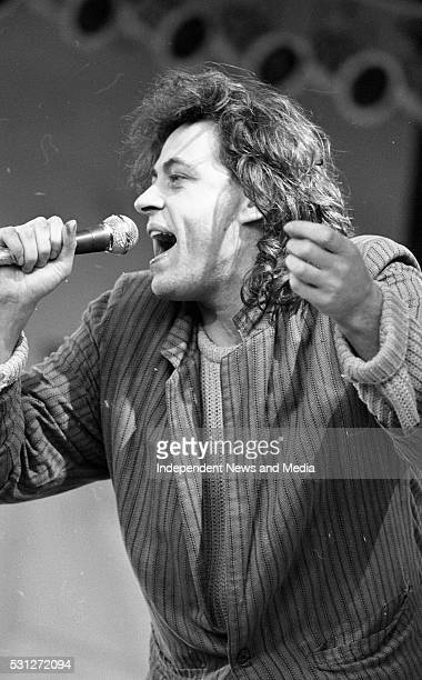 Bob Geldof of The Boomtown Rats on stage during SelfAid benefit concert in the RDS
