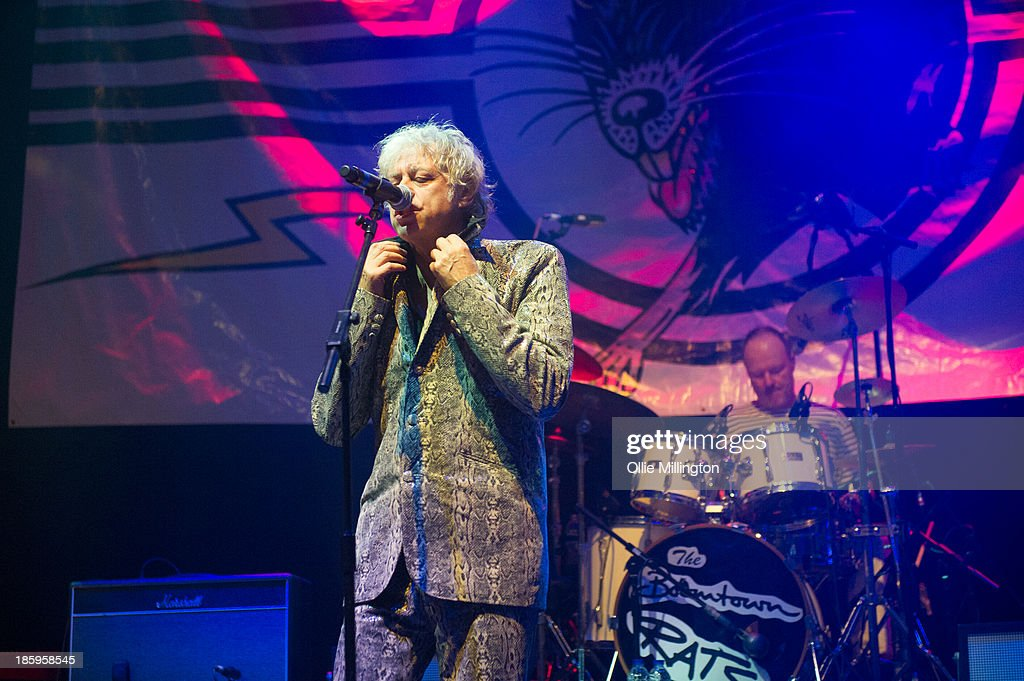 Bob Geldof of The Boomtown Rats performs onstage for the first time in London for 25 years at The Roundhouse on October 26, 2013 in London, England.