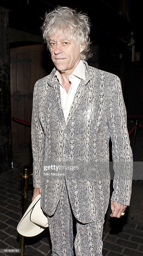 Bob Geldof sighting leaving The Box, Soho on April 30, 2013 in London, England.