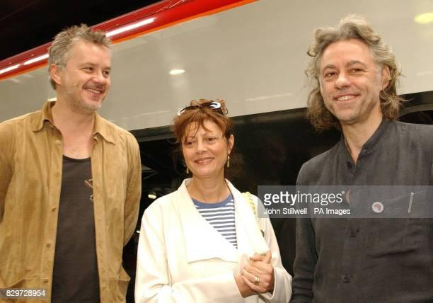 Bob Geldof welcomes Hollywood film stars Tim Robbins and Susan Sarandon before boarding a special train to Edinburgh to take his Make Poverty History...
