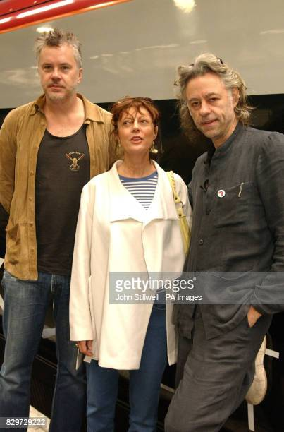Bob Geldof welcomes Hollywood film stars Tim Robbins and Susan Sarandon before boarding a special train at London's Euston station to take his Make...