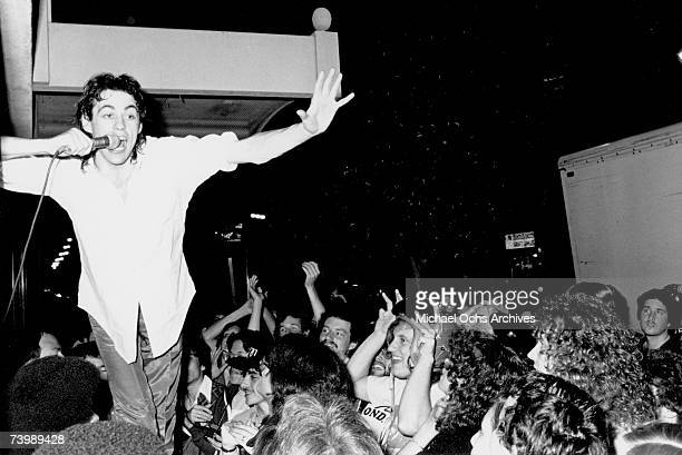 Bob Geldoff of The Boomtown Rats performs live in 1979 in Los AngelesCalifornia