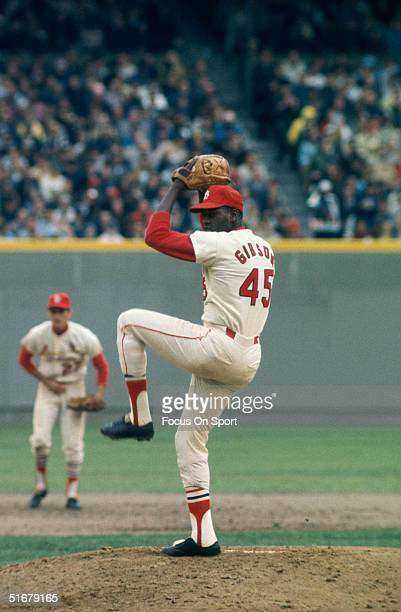 Bob Gibson of St Louis Cardinals pitches during the World Series against the Detroit Tigers at Busch Stadium on October 1968 in St Louis Missouri