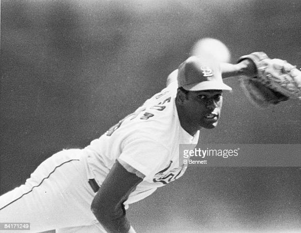 Bob Gibson of the St Louis Cardinals throws the ball during Game 7 of the 1968 World Series at Busch Stadium in St Louis Missouri on October 10 1968...
