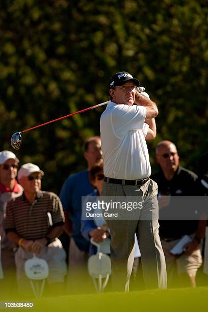 Bob Gilder follows through on a tee shot during the final round of the JeldWen Tradition at the Crosswater Club at Sunriver on August 22 2010 in...