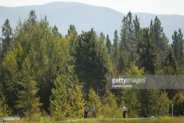 Bob Gilder follows through on a tee shot during the second round of the JeldWen Tradition at the Crosswater Club at Sunriver on August 20 2010 in...