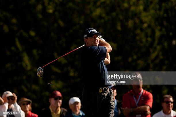 Bob Gilder follows through on a tee shot during the third round of the JeldWen Tradition at the Crosswater Club at Sunriver on August 21 2010 in...