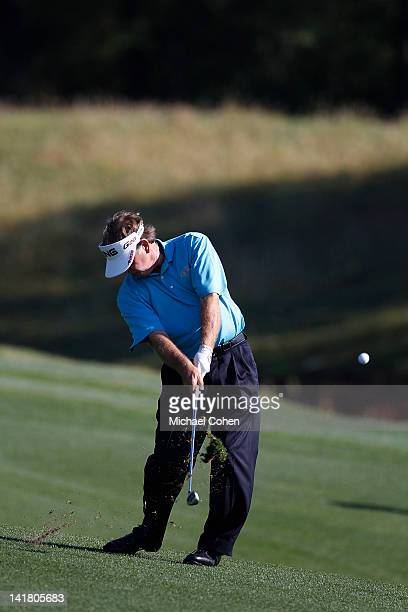 Bob Gilder hits a shot from the fairway during the continuation of the first round of the Mississippi Gulf Resort Classic held at Fallen Oak Golf...