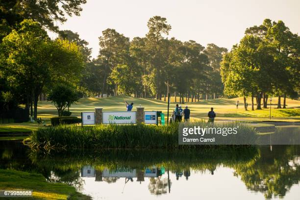 Bob Gilder of the United States plays his tee shot at the fourth hole during the third round of the PGA TOUR Champions Insperity Invitational at The...