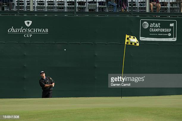 Bob Gilder plays a pitch shot at the 16th hole during the second round of the 2012 ATT Championship at the Canyons Course at TPC San Antonio on...