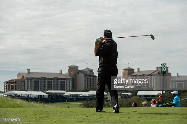 Bob Gilder plays a tee shot at the 18th hole during the second round of the 2012 ATT Championship at the Canyons Course at TPC San Antonio on October...