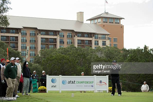 Bob Gilder plays a tee shot at the second hole during the second round of the 2012 ATT Championship at the Canyons Course at TPC San Antonio on...