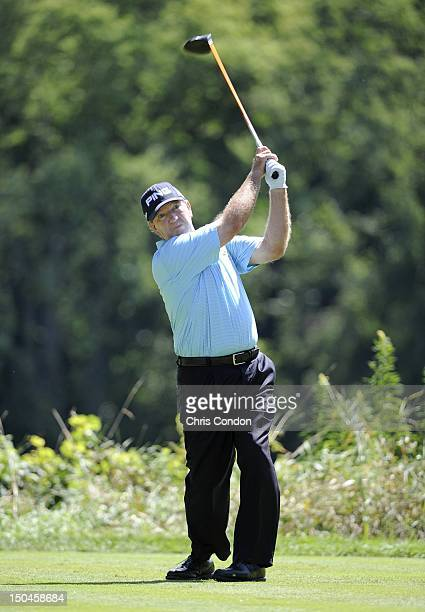 Bob Gilder plays from the 15th tee during the second round of the Dick's Sporting Goods Open at EnJoie Golf Course on August 18 2012 in Endicott New...