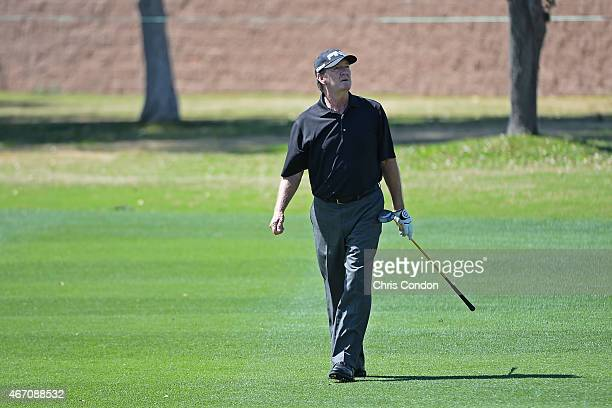 Bob Gilder plays his second shot on the second hole during the first round of the Champions Tour Tucson Conquistadores Classic at Omni Tucson...