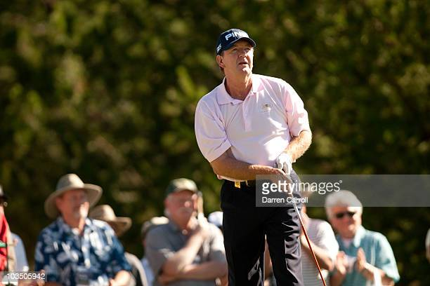 Bob Gilder watches after a tee shot during the second round of the JeldWen Tradition at the Crosswater Club at Sunriver on August 20 2010 in Sunriver...