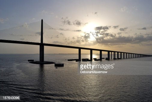 Bob Graham Sunshine Skyway Bridge Tampa Bay Florida at Dusk