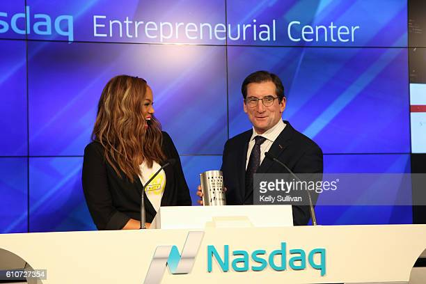 Bob Greifeld CEO of Nasdaq presents Tyra Banks with the Nasdaq Closing Bell Crystal Award at the Nasdaq Entrepreneurial Center on September 27 2016...
