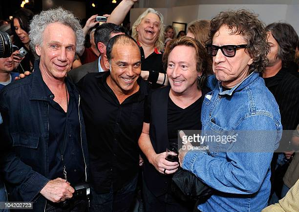 Bob Gruen Timothy White Julian Lennon and Mick Rock attend the 'Timeless' By Julian Lennon Release Party at Morrison Hotel Gallery on September 16...