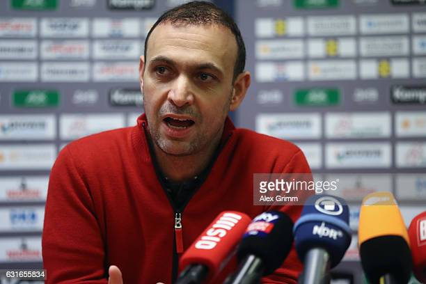 Bob Hanning Vice President of the German Handball Federation DHB attends a Germany press conference at Novotel Rouen Sud during the 25th IHF Men's...