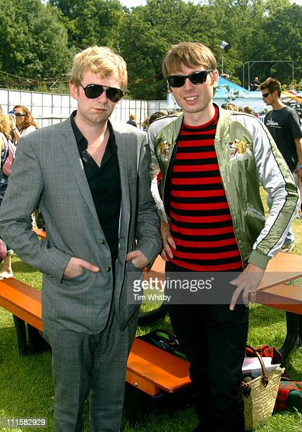 Bob Hardy and Alex Kapranos of Franz Ferdinand during V Festival 2005 Chelmsford Day Two Backstage at Hylands Park in Chelmsford Great Britain