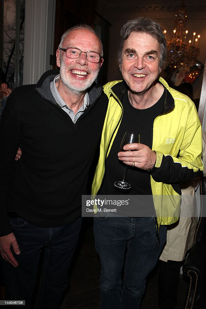 DJ Bob Harris and Mark Ellen attend a party to launch the book 'Speed of Life,' containing photographs of David Bowie, by Masayoshi Sukita at the Arts Club on May 8, 2012 in Dover St, London.