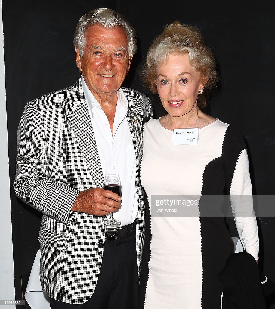 <a gi-track='captionPersonalityLinkClicked' href=/galleries/search?phrase=Bob+Hawke&family=editorial&specificpeople=158023 ng-click='$event.stopPropagation()'>Bob Hawke</a> and Blanche d'Alpuget pose at the opening night of 'The Secret River' at the Sydney Theatre Company on January 12, 2013 in Sydney, Australia.