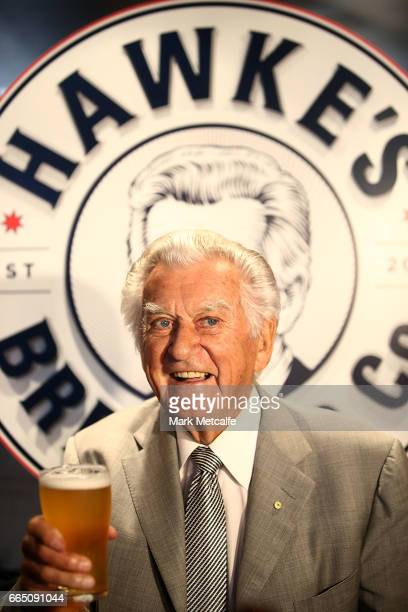 Bob Hawke drinks Hawke's Lager at the launch of Hawke's Lager at The Clock Hotel on April 6 2017 in Sydney Australia The former Australian Prime...