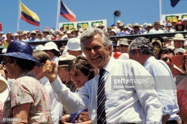 Bob Hawke Prime Minister of Australia at the Davis Cup Finals in 1986 Australia