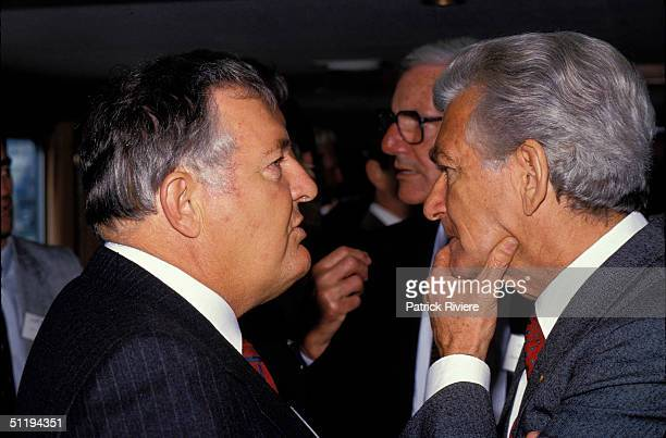 Bob Hawke Prime Minister of Australia with Alan Bond at the launch of the Maritime Museum in 1987 in Sydney Australia