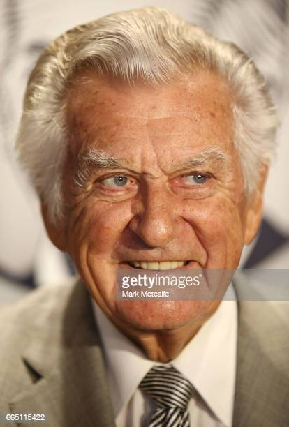 Bob Hawke smiles at the launch of Hawke's Lager at The Clock Hotel on April 6 2017 in Sydney Australia The former Australian Prime Minister agreed to...