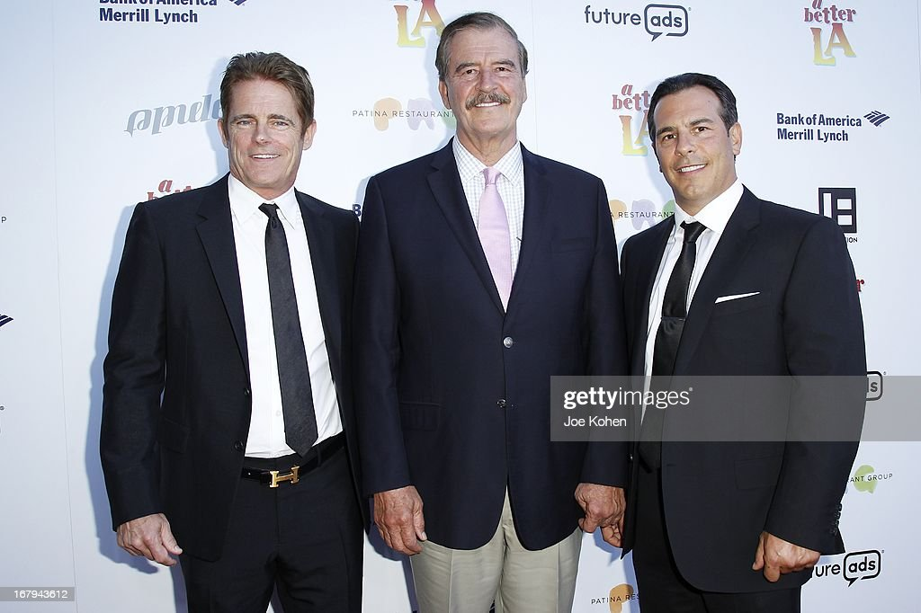 Bob Hoff, Former president of Mexico <a gi-track='captionPersonalityLinkClicked' href=/galleries/search?phrase=Vicente+Fox&family=editorial&specificpeople=202615 ng-click='$event.stopPropagation()'>Vicente Fox</a> and Matt Celenza attend a Better LA celebrates 10 Years With 'An Evening With A View' Gala at AT&T Center on May 2, 2013 in Los Angeles, California.
