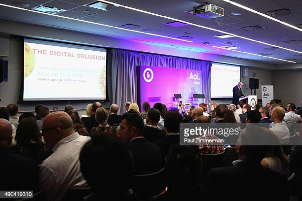 Bob Hoffman CEO of HoffmanLewis and The Ad Contrarian speaks onstage at the Truth Lies Digital panel during Advertising Week 2015 AWXII at Lucille's...