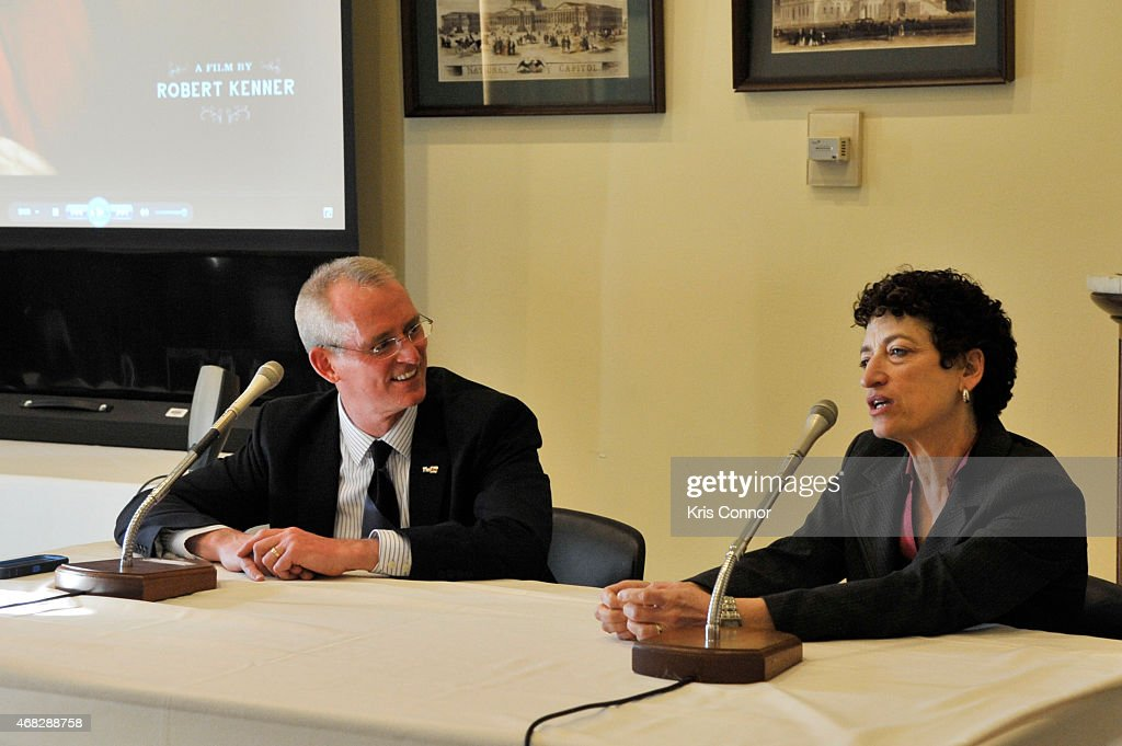 Bob Inglis and Namoi Oreskes attend the 'Merchants of Doubt' premiere at Rayburn House Office Building on April 1 2015 in Washington DC