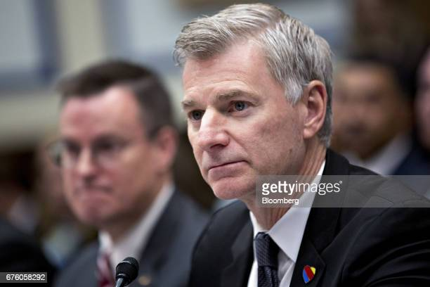 Bob Jordan executive vice president and chief commercial officer of Southwest Airlines Co listens during a House Transportation and Infrastructure...