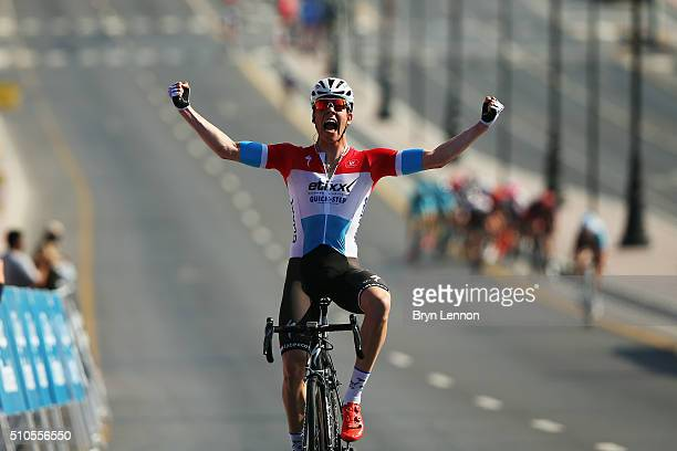 Bob Jungels of Luxembourg and Etixx Quick Step celebrates winning stage one of the 2016 Tour of Oman a 145km road stage from Oman Exhibition Centre...