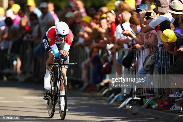 Bob Jungels of Luxembourg and EtixxQuickStep in action on stage one of the 2016 Giro a 98km individual timetrial through Apeldoorn on May 06 2016 in...