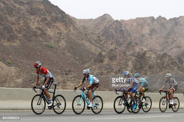 Bob Jungels of Luxembourg and QuickStep Floors leads the breakaway group on stage four of the 8th Tour of Oman a 118km stage from Yiti to the...