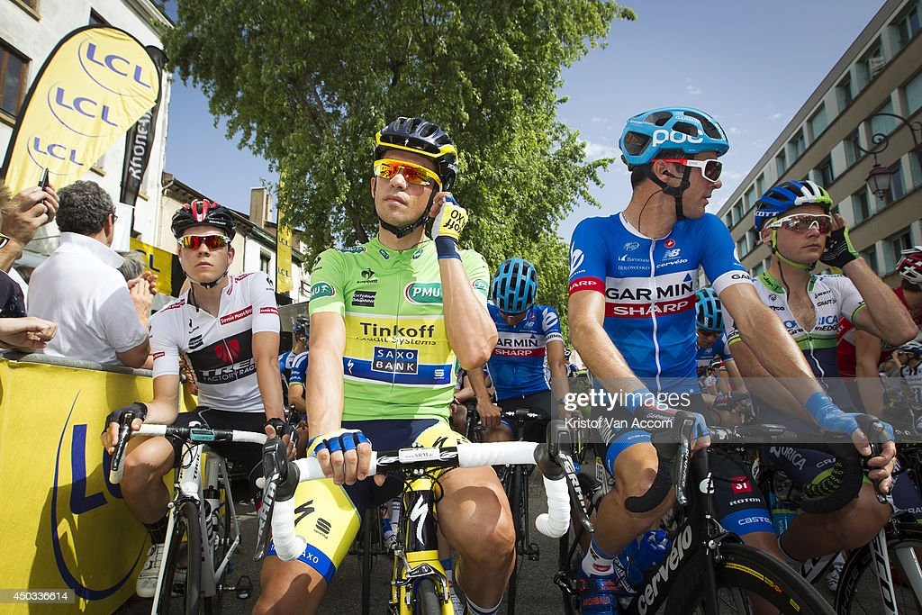 <a gi-track='captionPersonalityLinkClicked' href=/galleries/search?phrase=Bob+Jungels&family=editorial&specificpeople=8910054 ng-click='$event.stopPropagation()'>Bob Jungels</a> of Luxembourg and Trek Factory Racing, <a gi-track='captionPersonalityLinkClicked' href=/galleries/search?phrase=Alberto+Contador&family=editorial&specificpeople=562697 ng-click='$event.stopPropagation()'>Alberto Contador</a> of Spain and Team Tinkoff-Saxo and <a gi-track='captionPersonalityLinkClicked' href=/galleries/search?phrase=David+Millar+-+Cyclist&family=editorial&specificpeople=4394499 ng-click='$event.stopPropagation()'>David Millar</a> of Great Britain and Team Garmin pictured at the start of the second stage of the Criterium du Dauphine, on June 9, 2014 between Tarare and Pays d'Olliergues - Col du Beal, France.