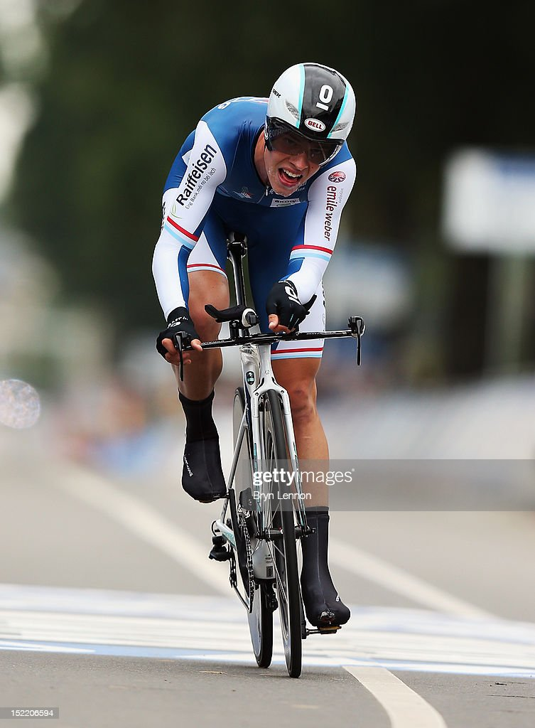 <a gi-track='captionPersonalityLinkClicked' href=/galleries/search?phrase=Bob+Jungels&family=editorial&specificpeople=8910054 ng-click='$event.stopPropagation()'>Bob Jungels</a> of Luxembourg in action in the U23 Men's Individual Time Trial on day two of the UCI Road World Championships on September 17, 2012 in Valkenburg, Netherlands.