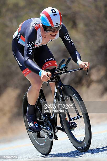 Bob Jungels of Luxembourg riding for Radioshack Leopard Trek rides to seventh place in the Individual Time Trial during Stage Six of the 2013 Amgen...
