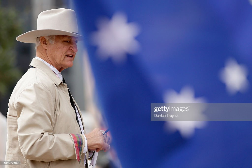 <a gi-track='captionPersonalityLinkClicked' href=/galleries/search?phrase=Bob+Katter&family=editorial&specificpeople=7152597 ng-click='$event.stopPropagation()'>Bob Katter</a> MP speaks to Dairy Farmers on May 25, 2016 in Melbourne, Australia. The Federal Government is expected to announce an assistance package for dairy farmers, who have been struggling due to falling milk prices in recent months.