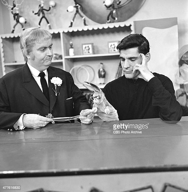 Bob Keeshan as Captain Kangaroo left and Cosmo Allegretti master puppeteer for the CAPTAIN KANGAROO show with his creation Bunny Rabbit Image dated...